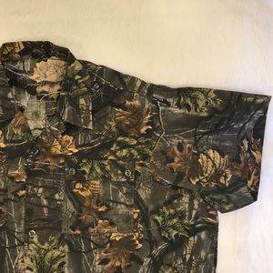 Camo Padded Shoulder button down Hunting Shirt
